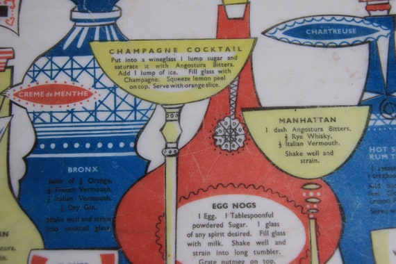 Kitsch Cocktail Tray, 1950s with Colourful images and serving suggestions