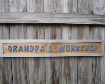 Grandpa's Workshop Hanging Double Sided Sign - Routed
