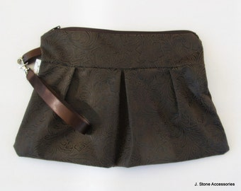Women's Wristlet, Pleated Wristlet, Brown Hand Tooled Faux Leather Pleated Wristlet with Removable Strap