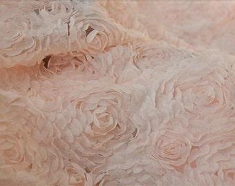 peach chiffon rosette fabric, chic chiffon rosette fabric, shabby rosette fabric, wedding decors, photography backdrop