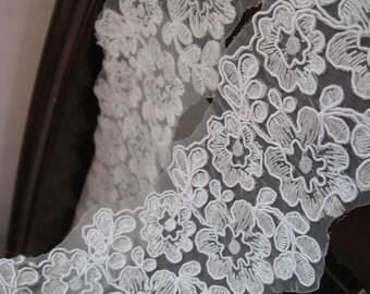 bridal lace trim,  alencon lace trim, cord lace trim, lace trimming by the yard