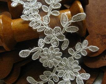 ivory Bridal Applique,  Alencon Lace Applique, bridal headpiece applique, wedding applique, Bridal hair flowers