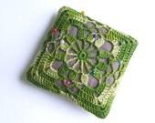 Linen pincushion, square crochet pincushion, pin pillow, green, natural, linen, cotton, Ready for shipping