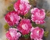 Reserved for Betsy Original Oil Painting Pink Roses Still Life Artist Signed looks like A. Silvia