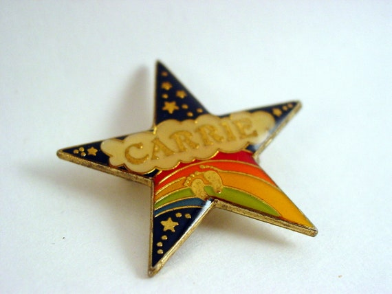 All For Carrie (vintage Hang Ten star, rainbow, name pin, brooch from 1981 with the name Carrie on it)