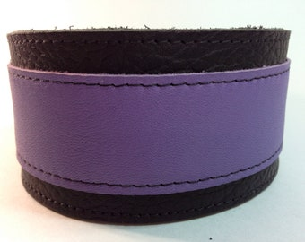 purple and black adjustable leather martingale dog collar