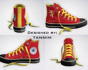 Ready for IMMEDIATE Shipping: House Lannister Converse Chucks, Size 10 Mens (12 Womens)