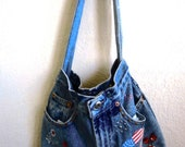 Handmade Upcycled Jean Purse - Retro style