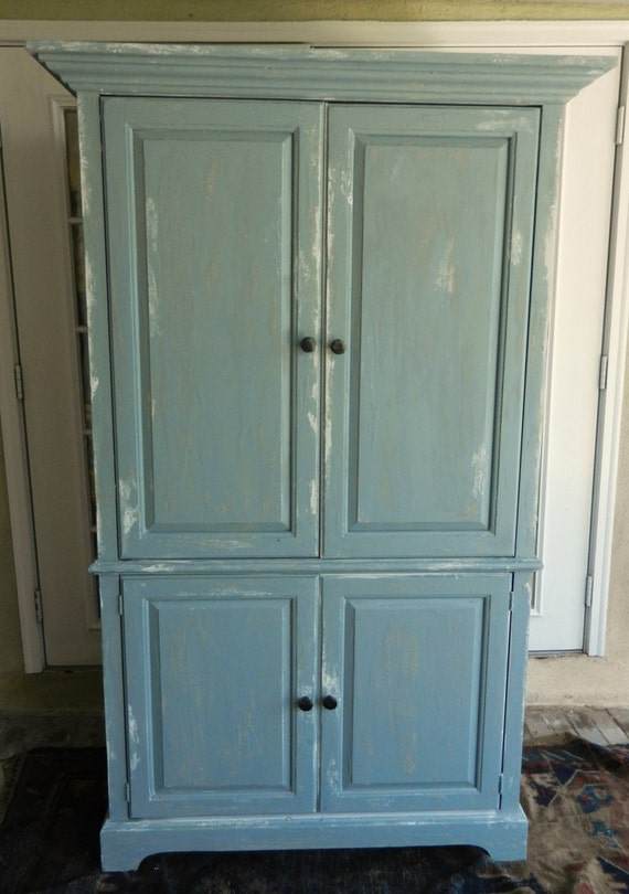 Rustic Swedish Style Painted Armoire