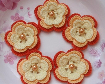 5 Crochet Flowers In Lt Yellow, Old Yellow, Autumn Orange YH-032-010