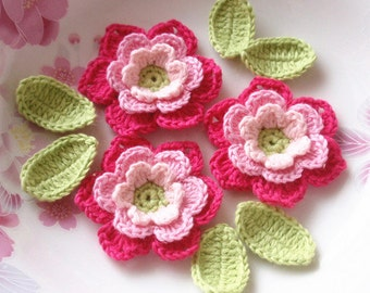 3 Crochet  Flowers With Leaves YH - 071-05