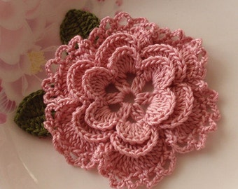 Crochet Flower With Leaves In 3-1/4 inches YH-099-08