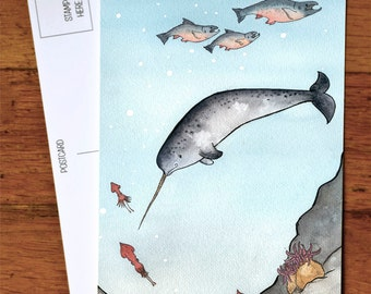 Narwhal swimming in the deep - Art Postcard - from original watercolor painting 4x6