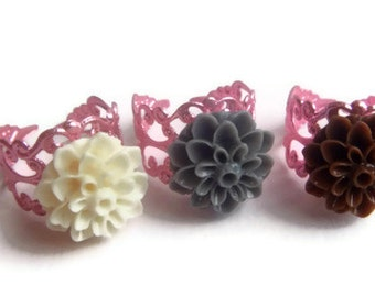Ring, Adjustable,  Mum Flower, Pink Filigree Ring, one Size Fits most, Flower Ring
