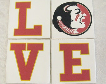 FSU Love Seminole Coaster / Spoon Rest  - paperweight tile