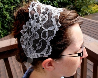 Gray/Silver Lace Headcovering/Band