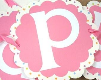 Handmade Pink & Rainbow Dots Scallop Happy Birthday Banner