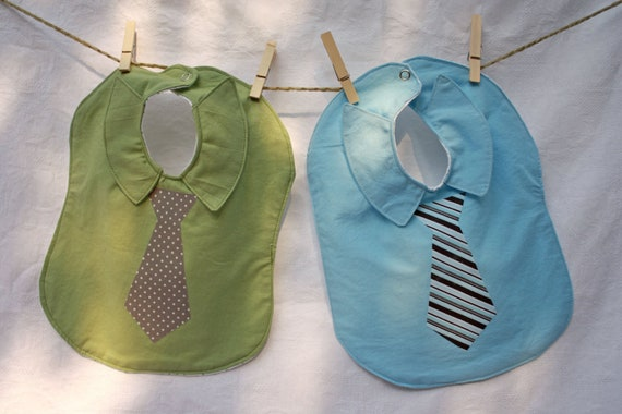 2 Necktie and Dress Shirt BABY BIBS. Set of 2 (TWO) Large Green and Blue Baby Bibs.