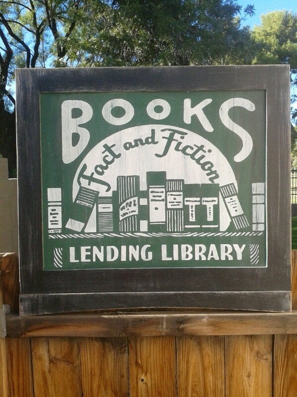 Books Fact and Fiction Lending Library Vintage Ad by StrangeVice