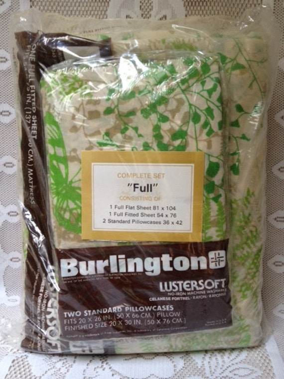 Vintage New In Package Full Sheet Set, Green and Yellow Bedding Set, Top Sheet, Bottom Sheet, Two Pillowcases