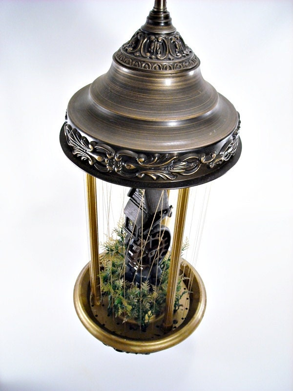 Vintage Rain Oil Motion Swag Lamp Grist Mill By
