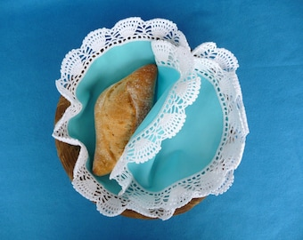 Double Cloth, Crochet Doily, Bread Serving Basket, Blue and White