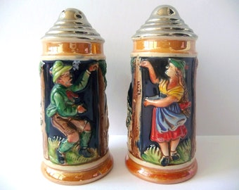 Vintage Salt and Pepper Shakers, Hand Painted Porcelain