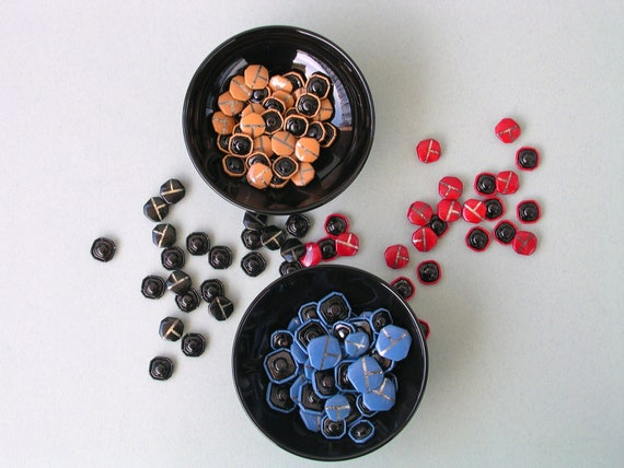 144 Colorful Vintage Buttons - Red, Blue, Black and Beige/Brown with Metal Tone Ink Stripes