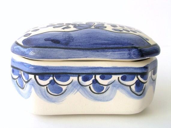 Blue & White Vintage Porcelain Box - Coimbra - Hand Painted