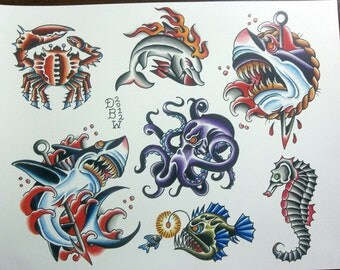Nautical II Traditional Tattoo Flash Sheet