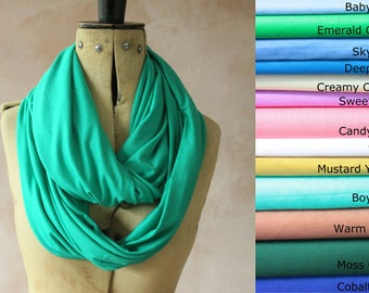Infinity scarf - Circle scarf, Eternity scarf, Jersey scarf, Tube scarf, Loop scarf, Snood, T-Shirt scarf - Green Colour