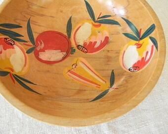 vintage wood fruit bowl