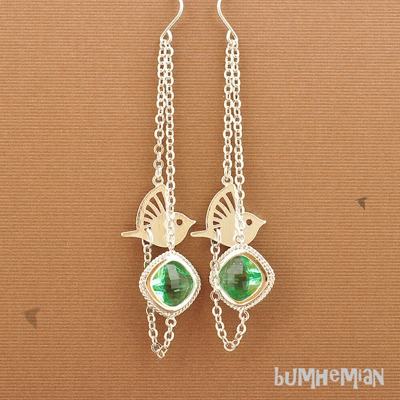 Egyptian Sparrow with Crystal Green Cubic Zirconia, Cable Chain, Earrings
