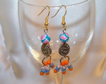 Colorful Pink Blue and Orange Beaded and Golden Filigree Pendant Dangle Earrings/ Beautiful Colorful Dangle Earrings