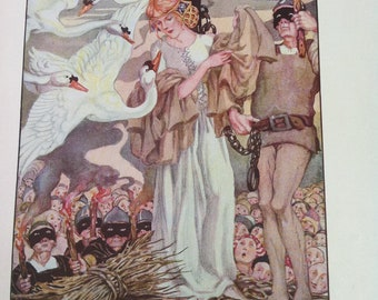 Vintage Art Nouveau Anne Anderson Illustration Six Swans Masked Men Executioners 1935,  Upcycling, Crafting, Framing, Classic Fairy Tale