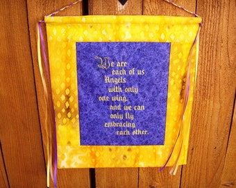 Embroidered and Quilted  Wall Hanging for Handfasting Vows or Alternative Wedding