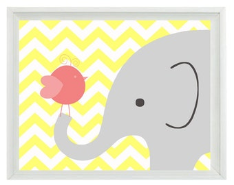 Elephant Bird Chevron Nursery Wall Art Print - Yellow Gray Pink Decor - Children Kid Baby Girl Room - Wall Art Home Decor  Print