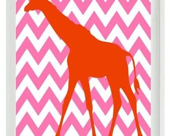 Giraffe Chevron Nursery Wall Art Print - Hot Pink Orange Decor - Children Kid Baby - Wall Art Home Decor  Print
