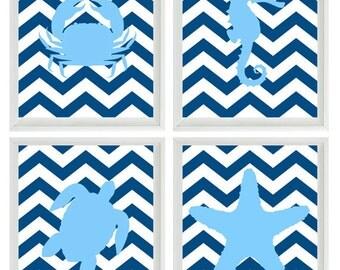 Beach Nautical Nursery Chevron Art Print Set - Navy Blue Light Blue Decor - Sea Creature Ocean - Wall Art Home Decor Set