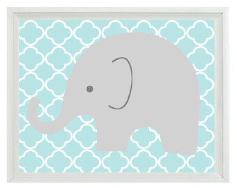 Elephant Nursery Wall Art Print - Aqua Gray Decor - Children Kid Baby Boy Room - Wall Art Home Decor  Print