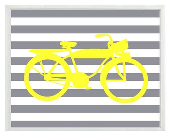 Vintage Bicycle Bike Wall Art Print  - Yellow Gray Stripes - Nursery Children Room Home Decor
