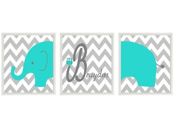 Elephant Nursery Wall Art Print - Owl Turquoise Gray Decor - Name Personalize Baby Boy Room - Wall Art Home Decor  -  Prints