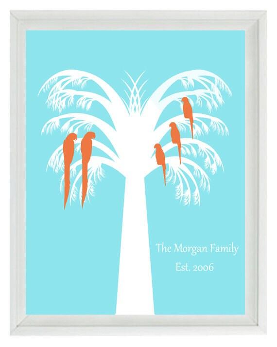 Family Tree - Personalized Palm Tree Parrots Beach House Decor Wall Art Anniversary Tropical Beachy Home  Print