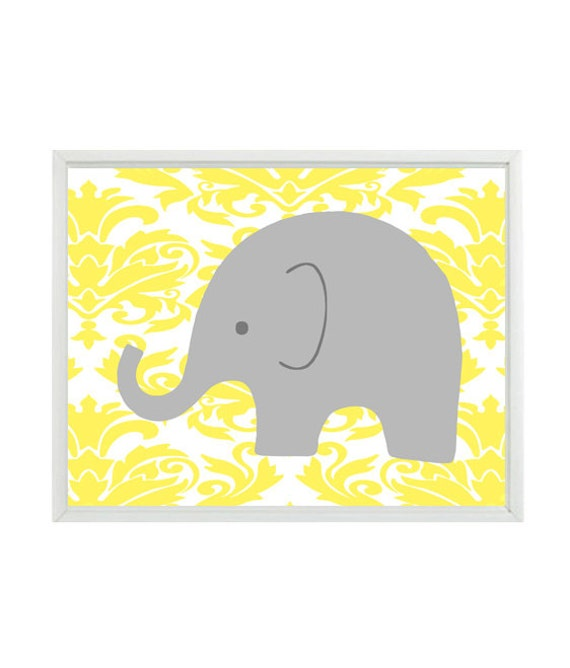 Elephant Nursery Art Wall Print - Gray Yellow Damask - Baby Girl Children Kids Modern Room Home Decor  8x10