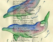 Orginal Watercolour painting of dolphin playmates on vintage poetry book page