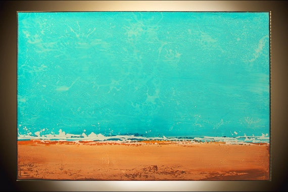 Original Paintings on Canvas Abstract Painting Landscape Painting by M.Schöneberg l Turquoise Ocean and Sand 24x36x0,8 SHIPPING FREE