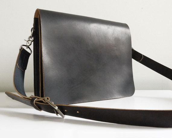 Black Leather Messenger Bag Laptop Bag