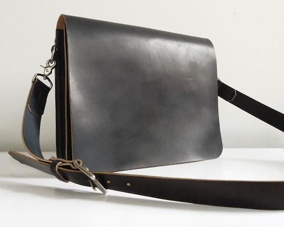 Black Leather Messenger Bag Laptop Bag