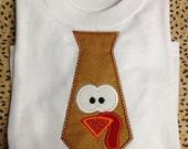 Boy's Thanksgiving Turkey Tie Embroidered Onesie or Shirt (Sizes Newborn-5T)
