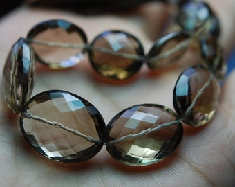 8 Inches Long Strand AAA Smoky Quartz Faceted Ovel Shape Nuggets-12x16mm